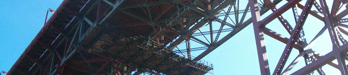 photo of underside Golden Gate Bridge from Marin side
